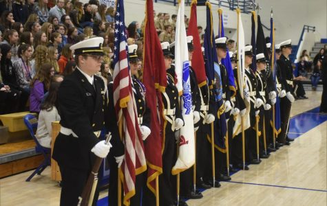 "MHHS students honor veterans during the ""Freedom is not Free"" program."